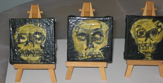 Trio of Mini Skull Paintings @ GoreyFest Auction