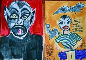 Bat Boy paintings